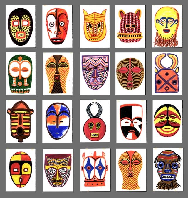 Masques d afrique fred sochard illustration - Dessin de masque africain ...