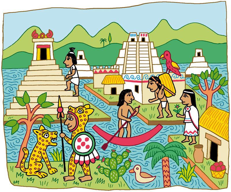 Azt ques museum et vikings fred sochard illustration - Dessin azteque ...