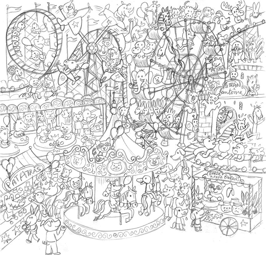 Quelle foire fred sochard illustration - Coloriage fete foraine ...