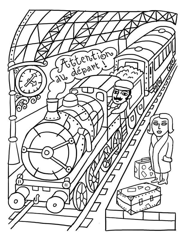 Voyage en coloriage fred sochard illustration - Coloriage train a vapeur ...