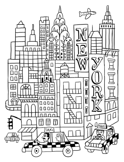 Voyage en coloriage 3 les villes fred sochard illustration - Dessiner un yorkshire ...