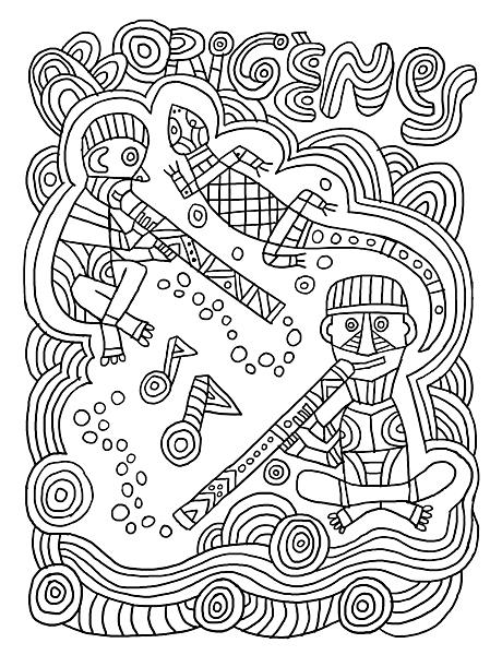 Coloriage Theme Ecole.Voyage En Coloriage 5 Afrique Oceanie Fred Sochard Illustration